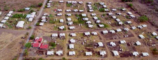 """Foto aérea del barrio """"Los Ángeles"""", Malacatoya, Nicaragua"""